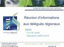 Réunion délégués régionaux SML URPS loi de santé